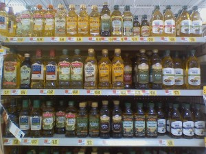 Olive OIl bottles on a store shelf
