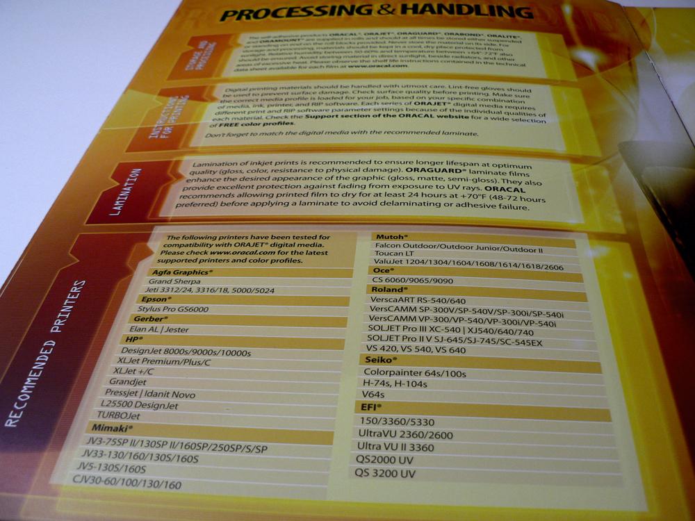 Inside page for Oracal Digital Inkjet Media Selection Guide